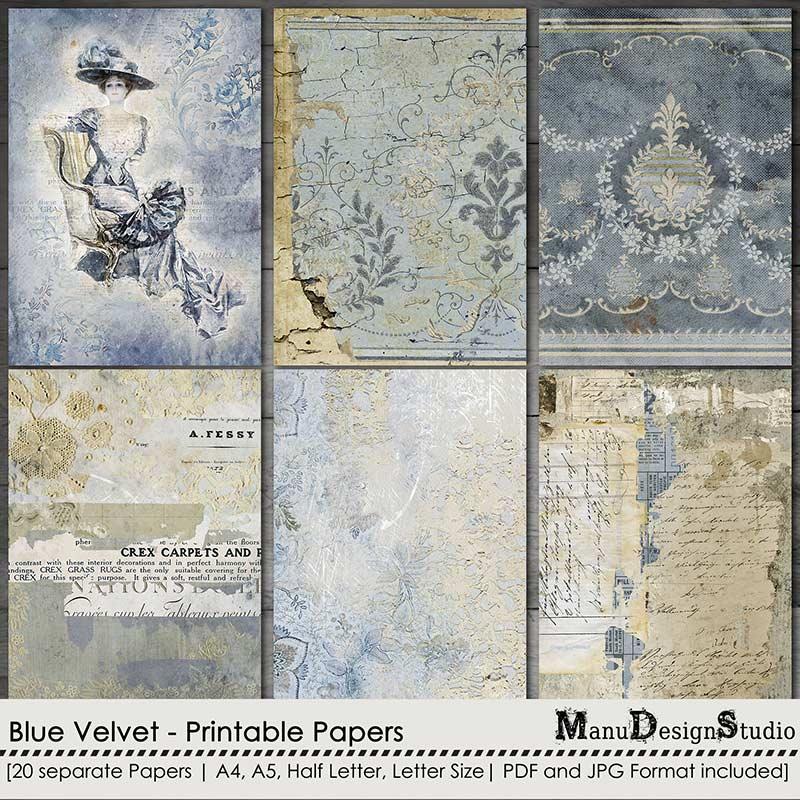 Blue Velvet - Printable Papers