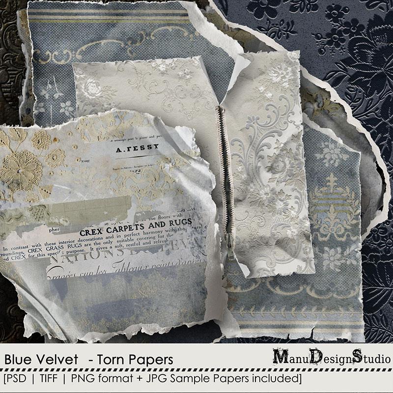 Blue Velvet - Torn Papers