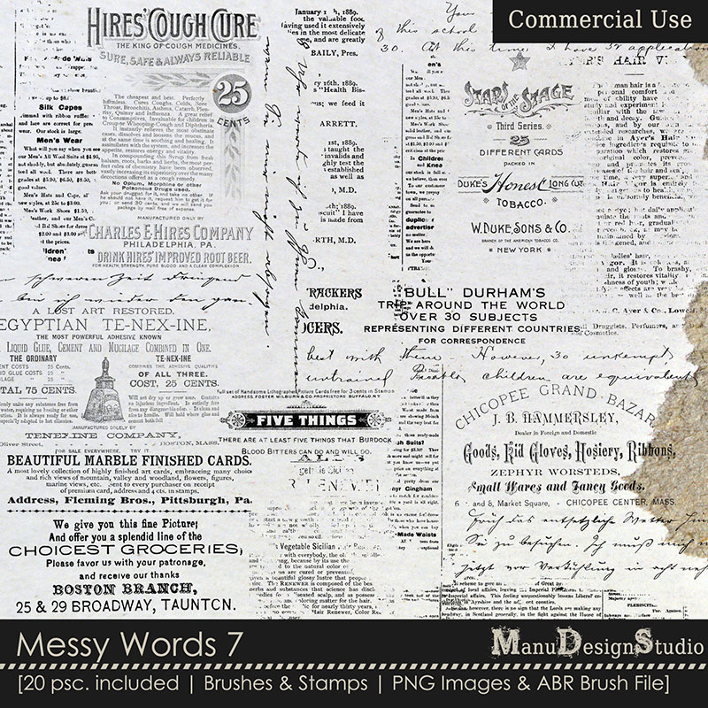 Messy Words 7 - Brushes & Stamps - CU