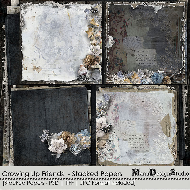 Growing Up Friends - Stacked Papers