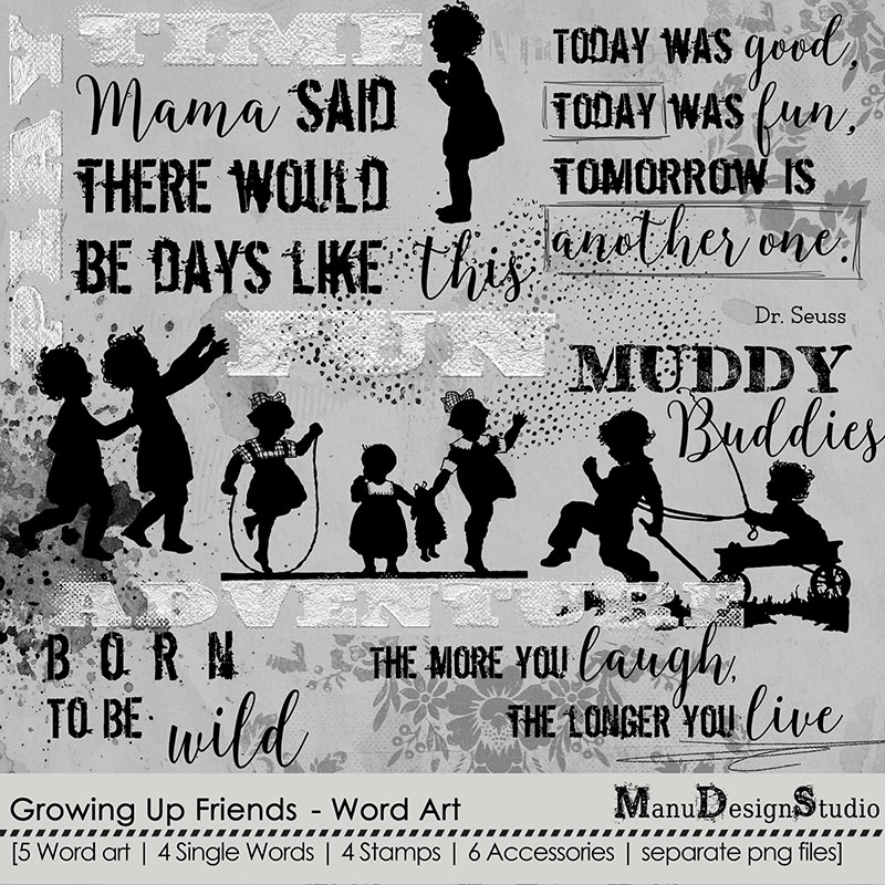 Growing Up Friends - Word Art