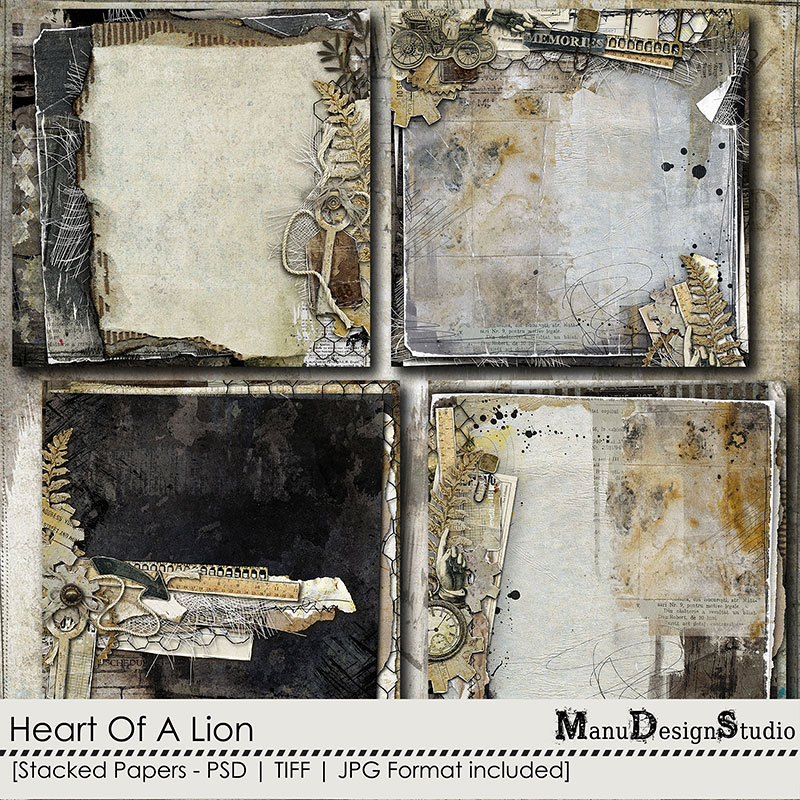 Heart Of A Lion Stacked Papers by Manu Design Studio