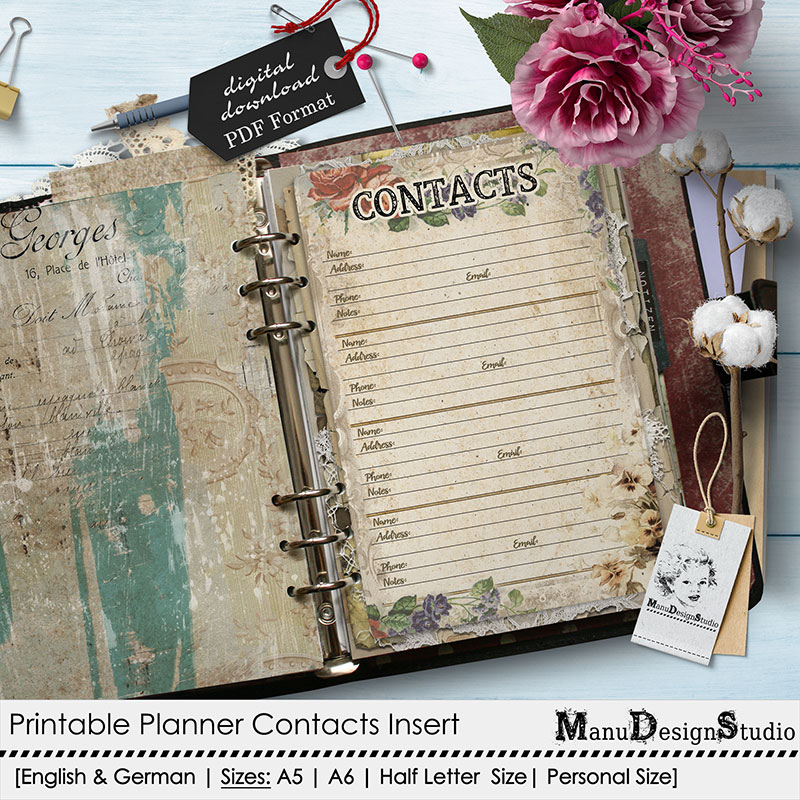 Printable Planner Contacts Page