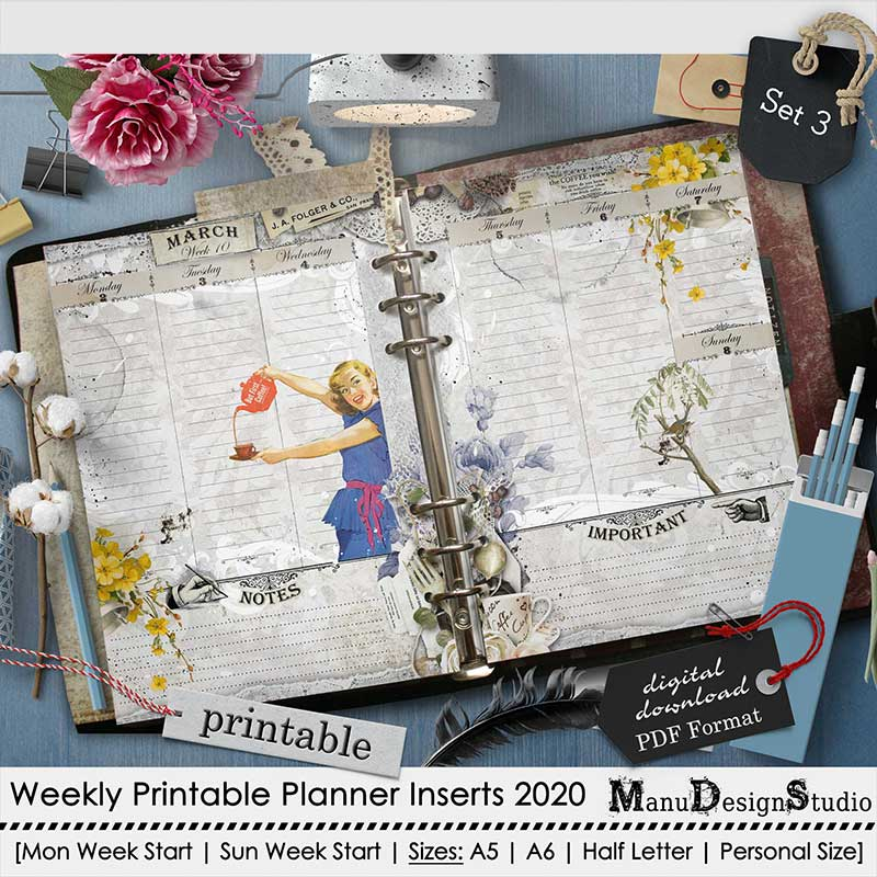 Set 3 - 2020 Weekly Printable Planner Inserts