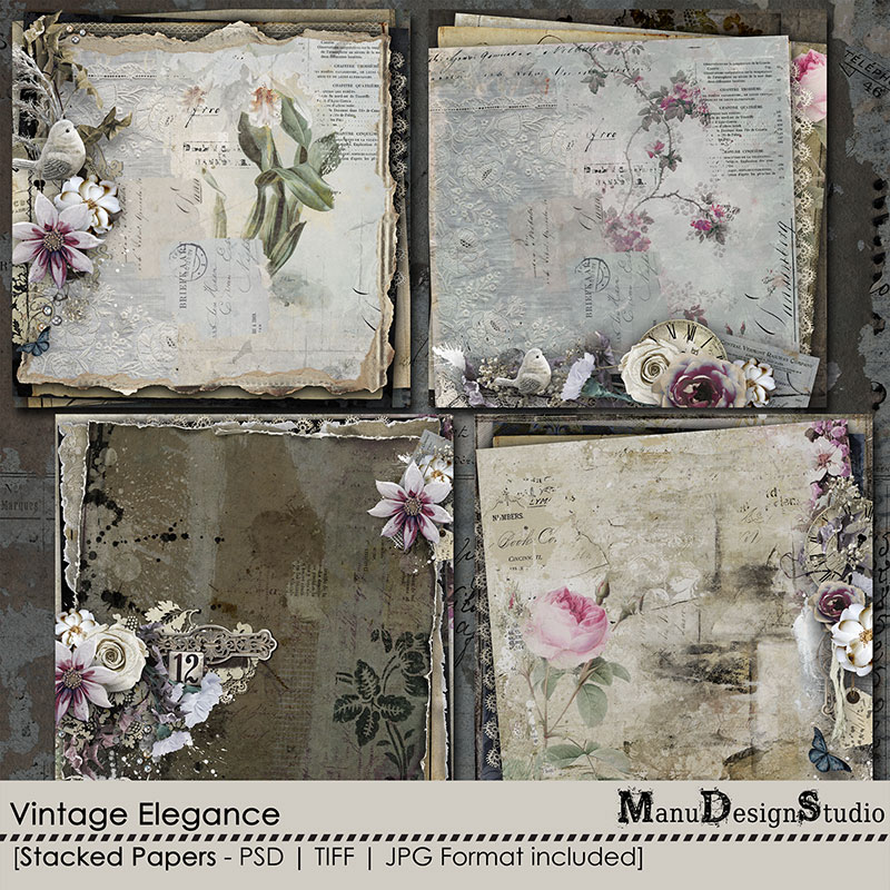 Vintage Elegance - Stacked Papers