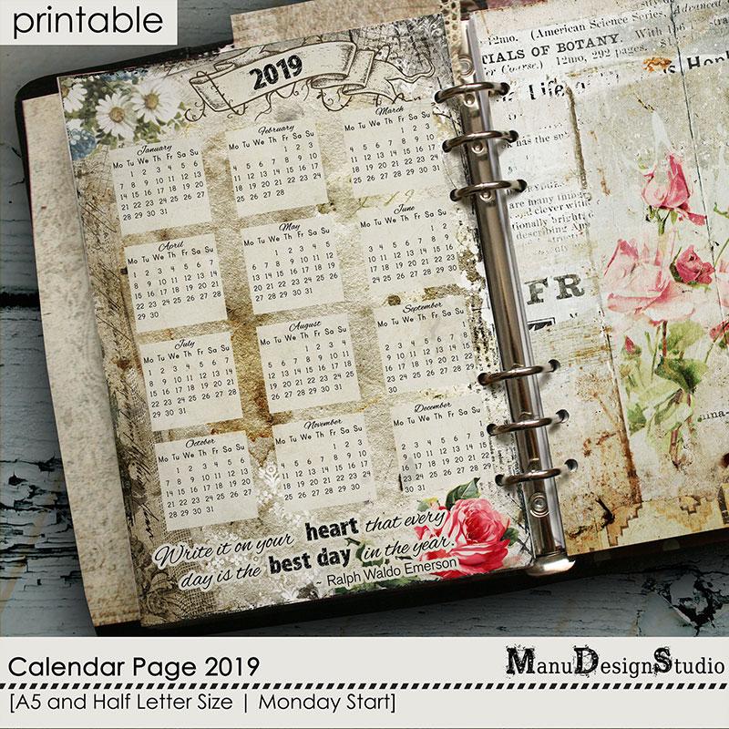 Printable Calendar Page 2019