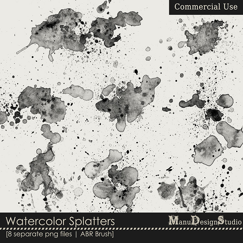 Watercolor Splatters - CU