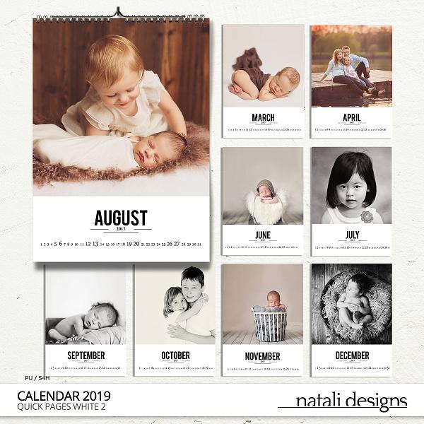2019 Calendar White 2