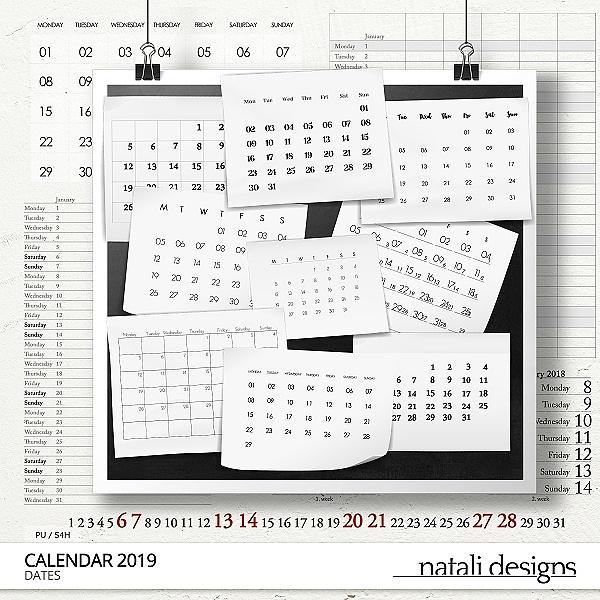 2019 Calendar Dates
