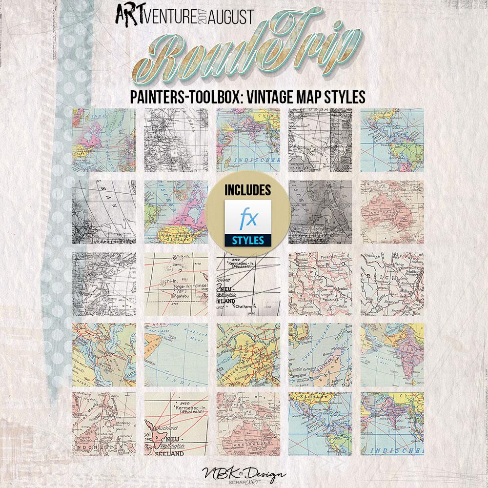 Roadtrip {Painters-Toolbox: Vintage-Map-Styles}
