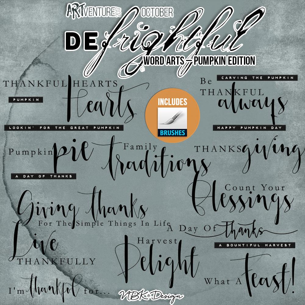 deFrightful {Word Arts Pumpkin – Brushes & Stamps}