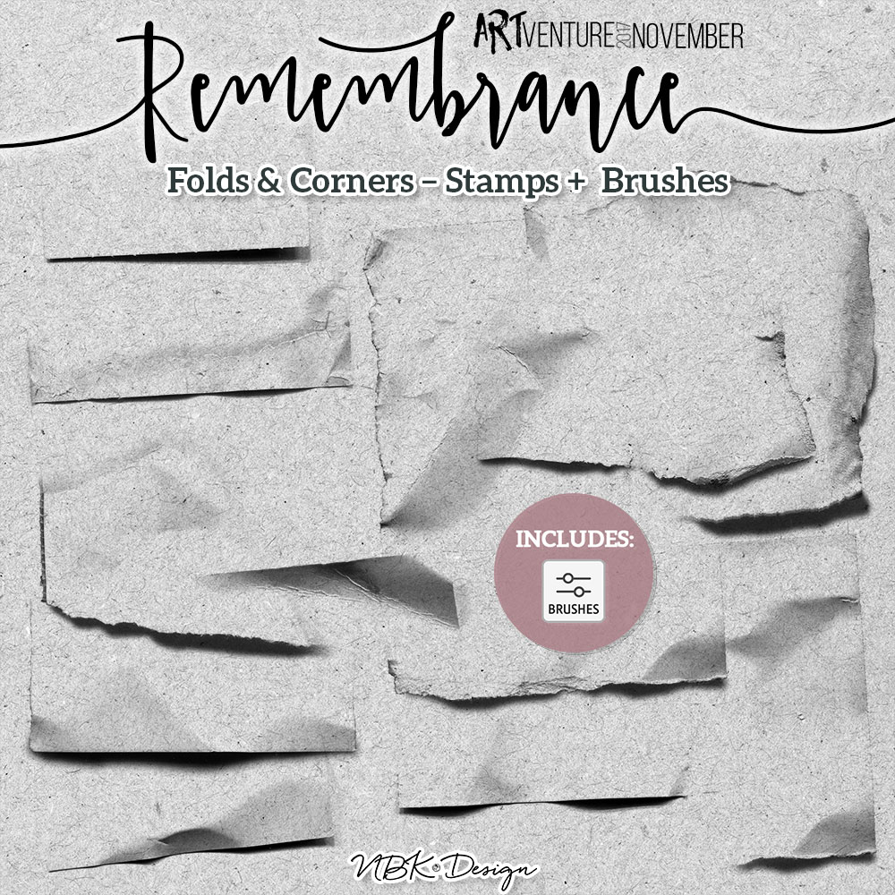 Remembrance {Painters-Toolbox: Folds&Corners – Brushes & Stamps}