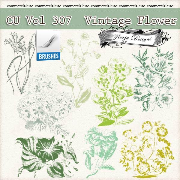 CU vol 307 Vintage Flower Brush { Florju Designs }