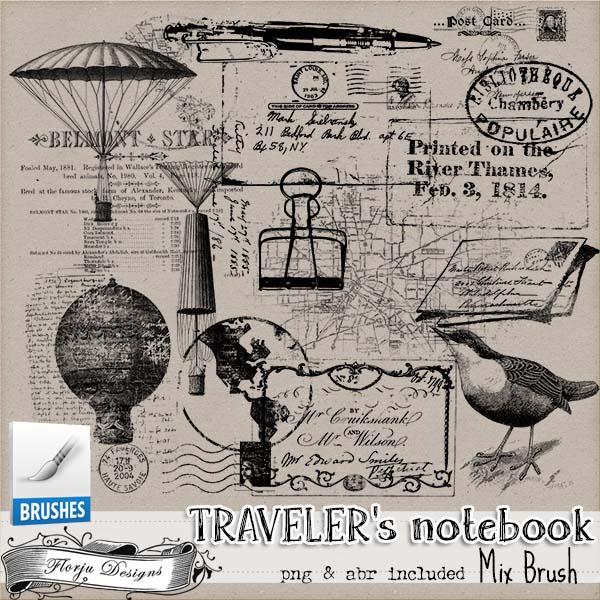 Traveler's Notebook { Mix Brush PU } by Florju Designs