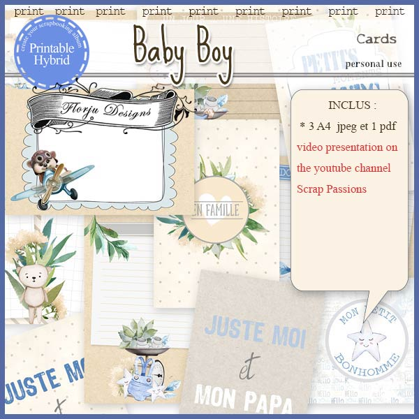 Baby Boy Printable Cards by Florju Designs PU