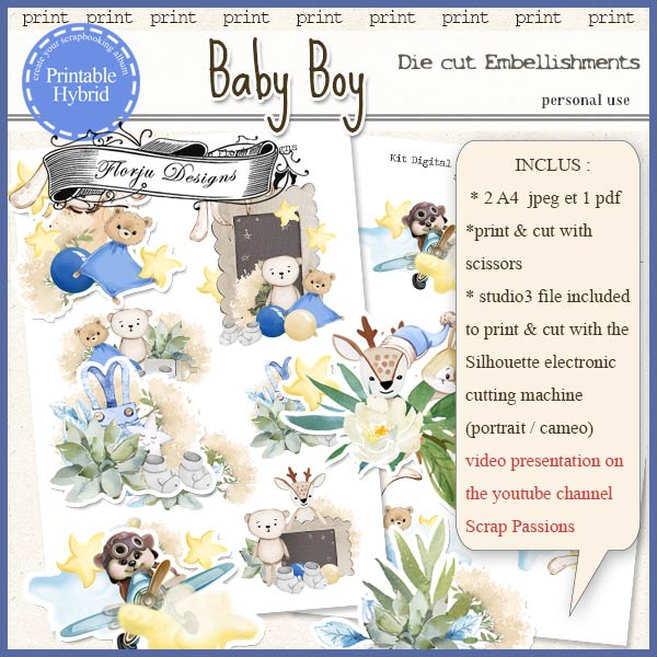Baby Boy Printable Embellishments by Florju Designs PU