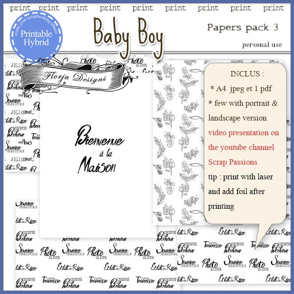 Baby Boy Printable A4 Papers pack 3 by Florju Designs PU