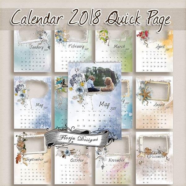 Calendar 2018 { Quick Page } by Florju Designs