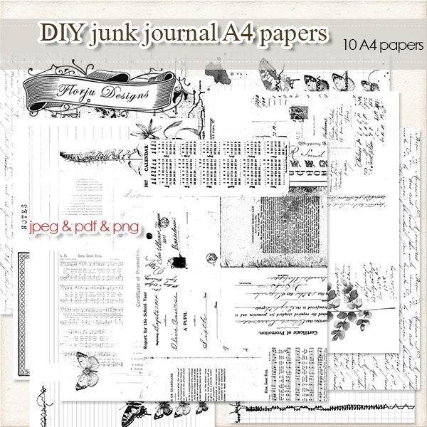 DIY Junk Journal [ Papers A4 PU } by Florju Designs