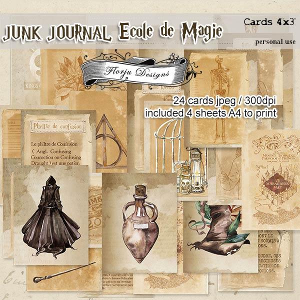 Junk Journal Ecole De Magie Cards PU by Florju Designs