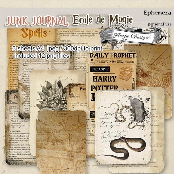 Junk Journal Ecole De Magie Ephemera PU by Florju Designs
