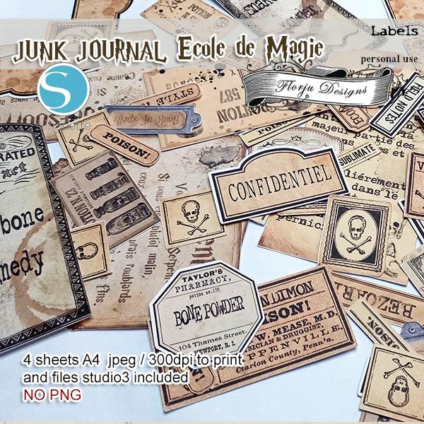 Junk Journal Ecole De Magie Label PU by Florju Designs
