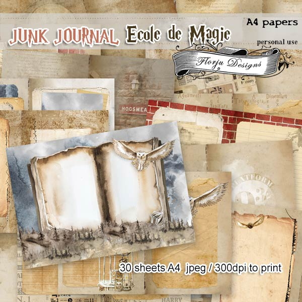Junk Journal Ecole De Magie A4 Papers PU by Florju Designs