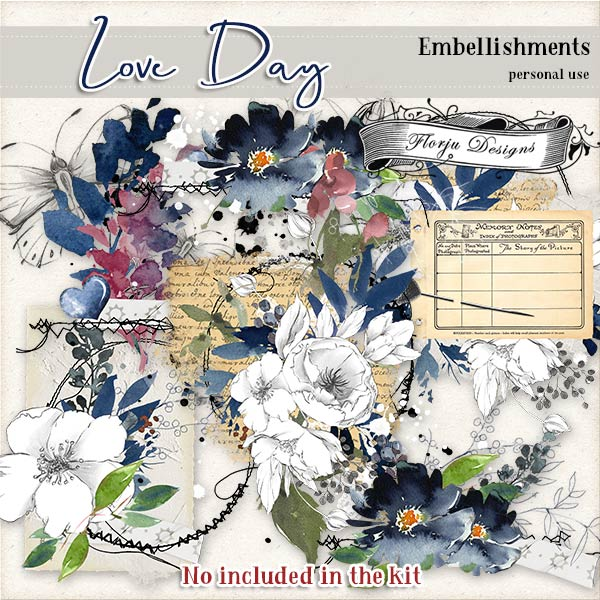 Love Day Embellishments PU by Florju designs