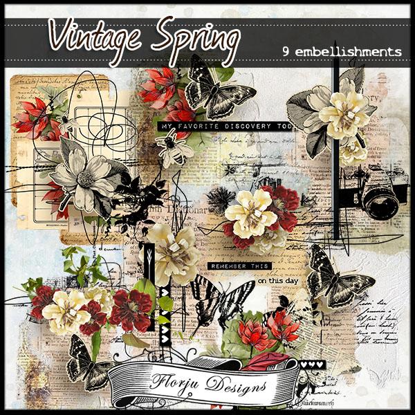 Vintage Spring { Embellishments PU } Florju Designs