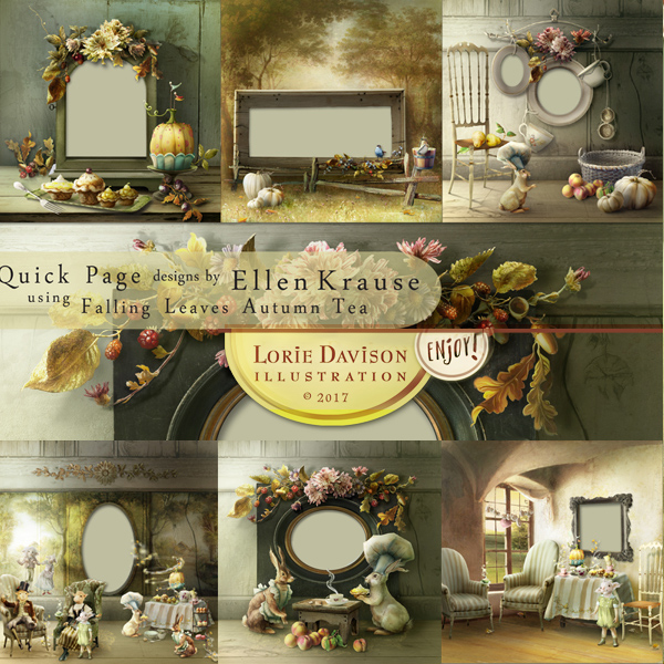 Quick Page designs by Ellen Krause using Falling Leaves Autumn Tea