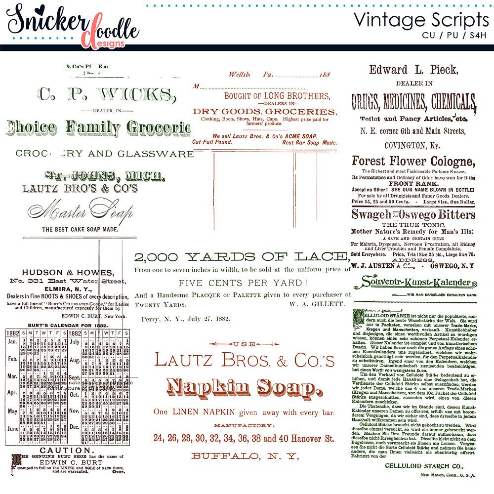 Vintage Script Brushes
