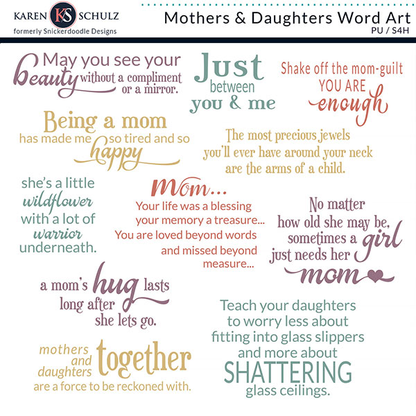 Mothers and Daughters Word Art