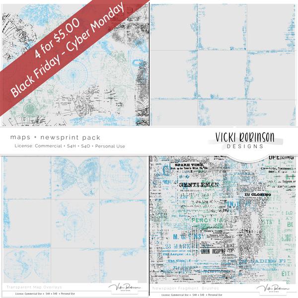 Maps + Newsprint Pack - 4/$5 Black Friday Sepcial