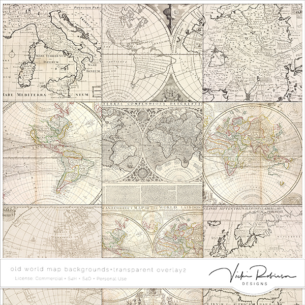 Old World Map Bkgs + Transparent Overlays 2