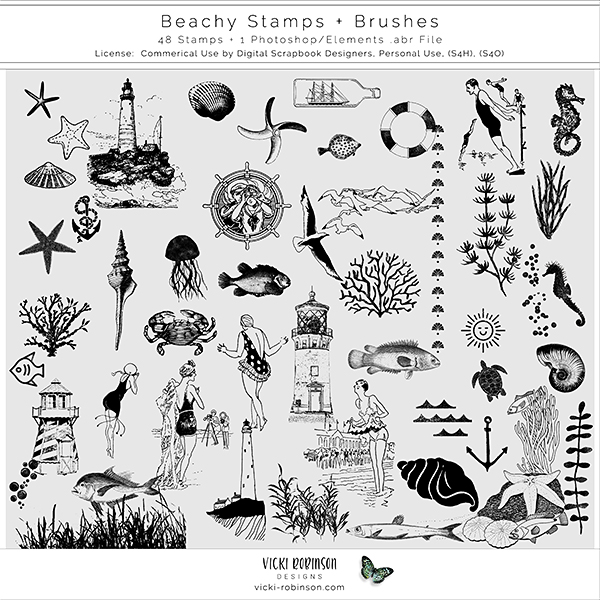 Beachy Stamps and Brushes by Vicki Robinson