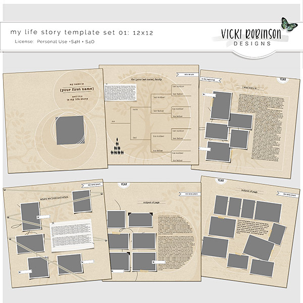 My Life Story Template Set 01 12x12 by Vicki Robinson