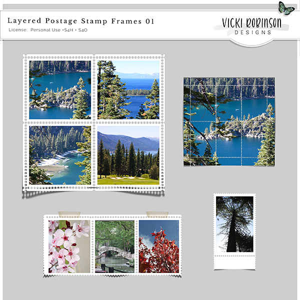 Layered Postage Stamp Frames Templates 01 by Vicki Robinson Designs