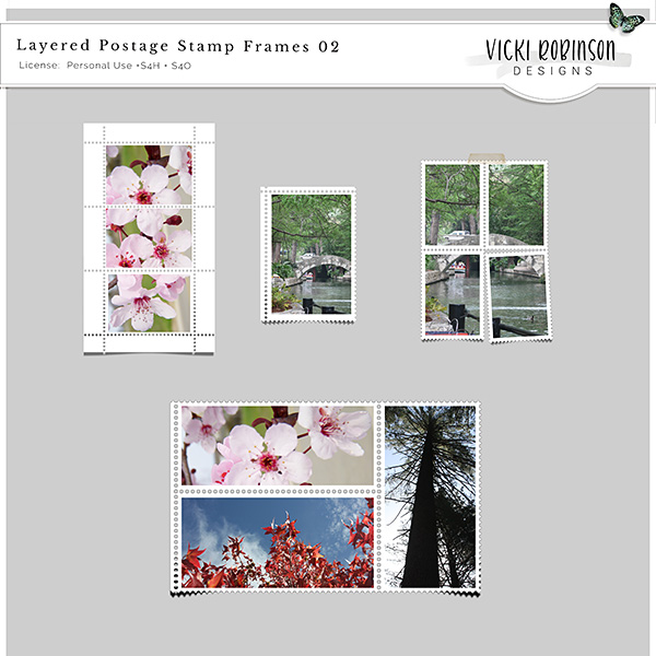 Layered Postage Stamp Frames Templates 02 by Vicki Robinson Designs