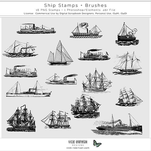Ship Stamps and Brushes by Vicki Robinson