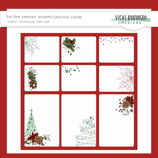'tis the season accent/journal cards