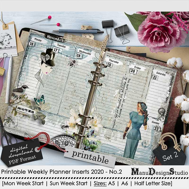 Set 2 - 2020 Weekly Printable Planner Inserts