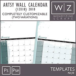 TEMPLATES: 2018 Artsy Wall Calendar