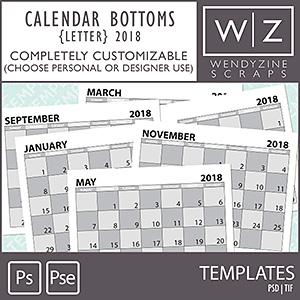 TEMPLATES: 2018 Calendar Bottoms Letter