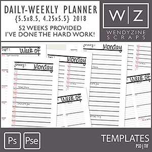 TEMPLATES: 2018 Daily-Weekly Planner