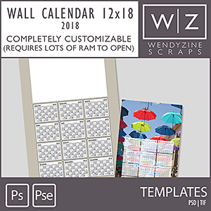 TEMPLATES: 2018 Wall Calendar