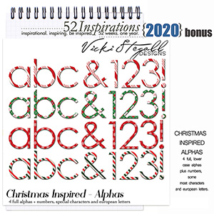 52 Inspirations 2020 Christmas Inspired Alphabets by Vicki Stegall