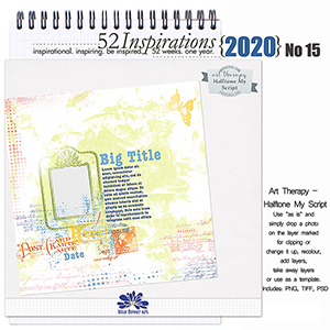 52 Inspirations 2020 No 15 Halftone My Script Templates by Blue Flower Art