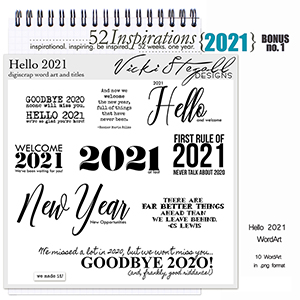 52 Inspirations 2021 Bonus No 01 New Year Word Art by Vicki Stegall