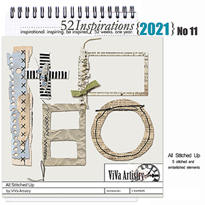 52 Inspirations 2021 No 11 All Stitched Up Elements by ViVa Artistry