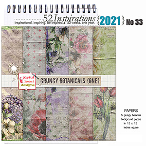 52 Inspirations 2021 No 33 Grungy Botanicals Papers 1 by Joyful Heart Design